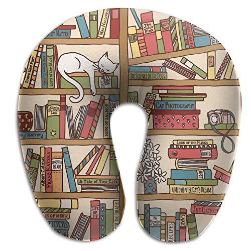 Almohada de viaje de espuma viscoelástica, para amantes de los libros, gatitos durmiendo sobre la almohada de viaje ligera para viajes