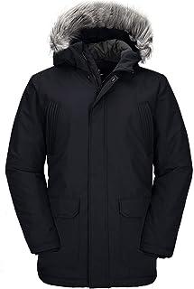 Wantdo Men's Winter Zip Up Coat Long Windproof Thick Puffer Jacket with Hood