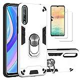 i-Case Funda para Huawei Y8p Protectora Case con 360°Anillo Rotacion,Hardcase&Silicona TPU Bumper,Estuche para Soporte de Coche Magnético 2 Pack Protector Pantalla Huawei Y8p Cristal Templado,Blanco