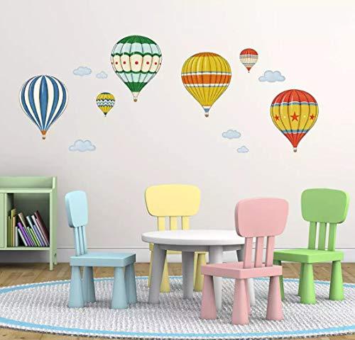 Dibujos animados multicolor globo de aire caliente pegatinas de pared dormitorio niños habitaciones decoración arte mural pegatinas papel tapiz de guardería decoración del hogar