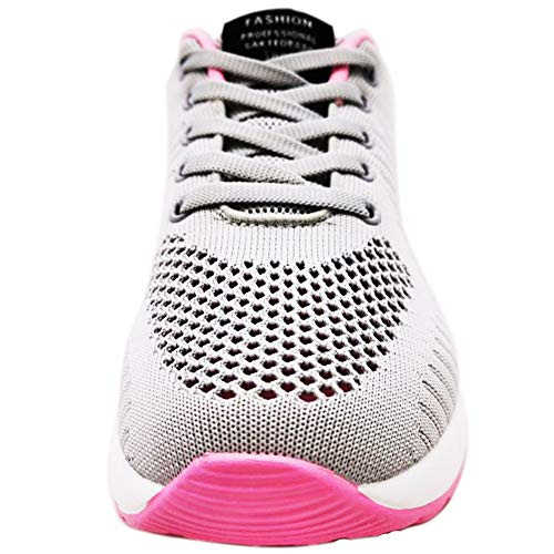 GAXmi Zapatillas Deportivas de Mujer Air Cordones Zapatos de Ligero Running Fitness Zapatillas de para Correr Antideslizantes Amortiguación Sneakers Rosa Gris 41 EU
