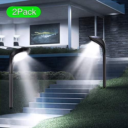 JSOT Solarlampen für Außen, 12 LED Solarleuchte Garten Dekorative [Kaltweiß und Warmweiß Licht] 2 Beleuchtungsmodi Wegeleuchten Aussen Wasserdichte Landschaft Lichter für Terrasse Gehweg - 2 Stück