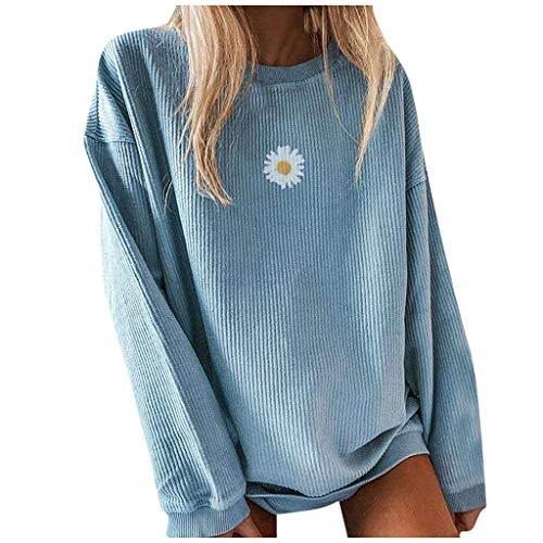 Womens Crewneck Graphic Sweatshirts Lightweight Long Sleeve Pullover Cute Nature Tee Knit Sweater Fall Top (Blue-2, Medium)
