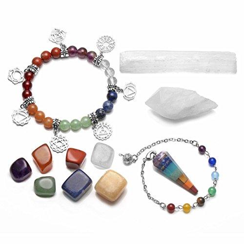 qgem conjunto péndulo divinatoire, pulsera Chakra, 2pcs cuarzo cristal de roca blanco, 7pcs Chakras piedras Meditación curación Reiki