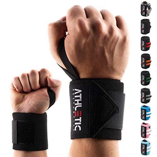 ATHLETIC AESTHETICS Handgelenkbandage [2er Set] in 45cm / 60cm Länge + Grundübungs Guide - Wrist Wraps fürs Krafttraining, Bodybuilding, Crossfit und Fitness - Handgelenkbandagen