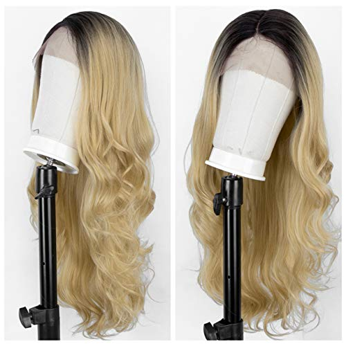 L Part Blonde Lace Front Wig with Right Side Part Wavy Synthetic Wig, Glueless 2 Tones Blonde Ombre Wig for Women