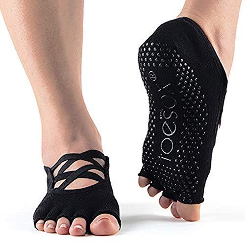 Toesox Calcetines unisex para yoga y pilates, Unisex, calcetines con agarre para Yoga y Pilates, YTOENTELLEBLACK-M, negro, M