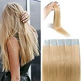 Extension Bande Adhesive Cheveux Naturel - Rajout Cheveux 100% Cheveux Humain Remy 20 Pièces (#613 Blond Blanchi, 35cm)