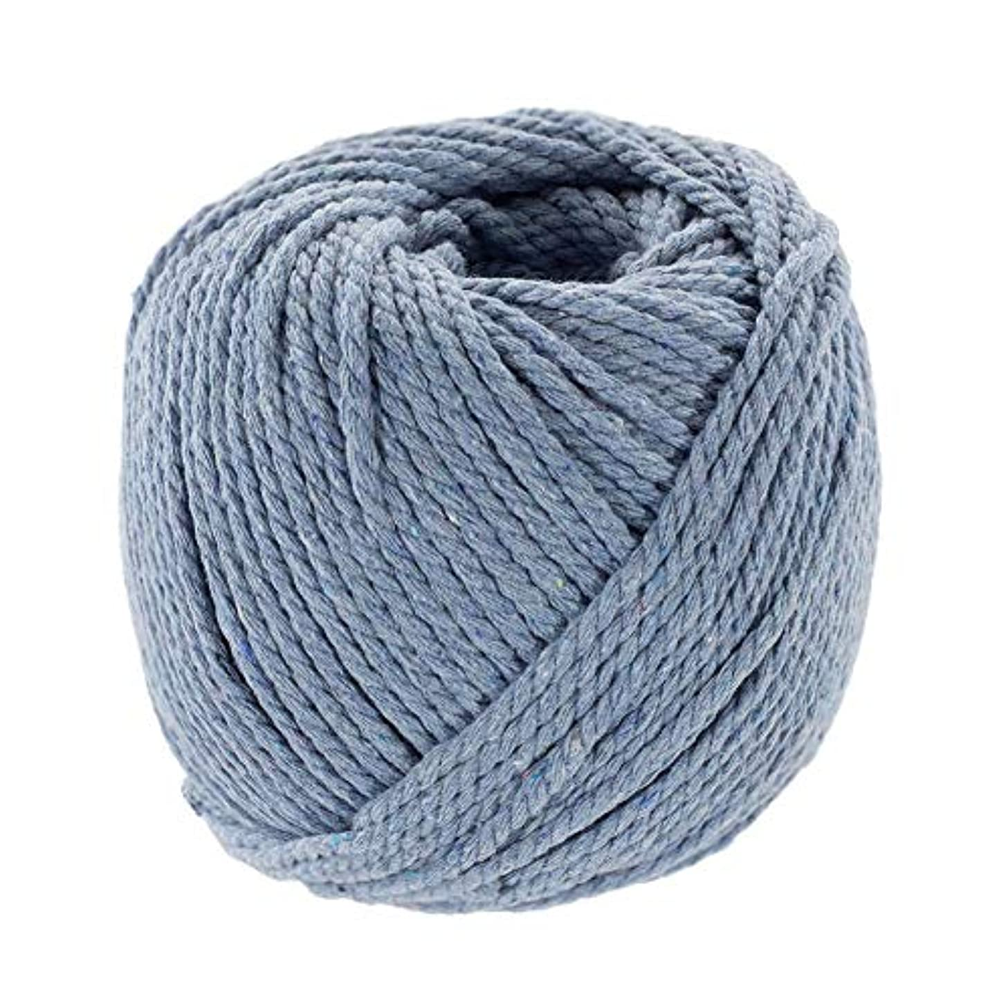 Ceil Blue, 3mm X 50m (About 55 Yards) Decorative Natural Bohemia Macramé Knitting Craft Cotton Rope Handmade DIY Wall Hangings Plant Hangers