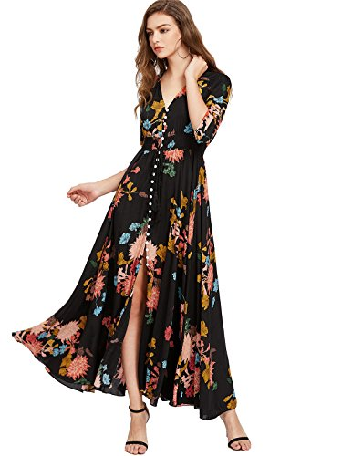 Milumia Women's Button Up Split Floral Print Flowy Party Maxi Dress Large a-Black-Yellow