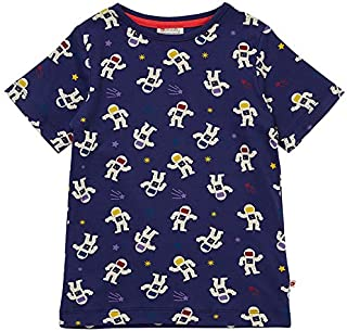 Piccalilly T-shirt à manches courtes pour enfant en jersey doux coton biologique Bleu marine