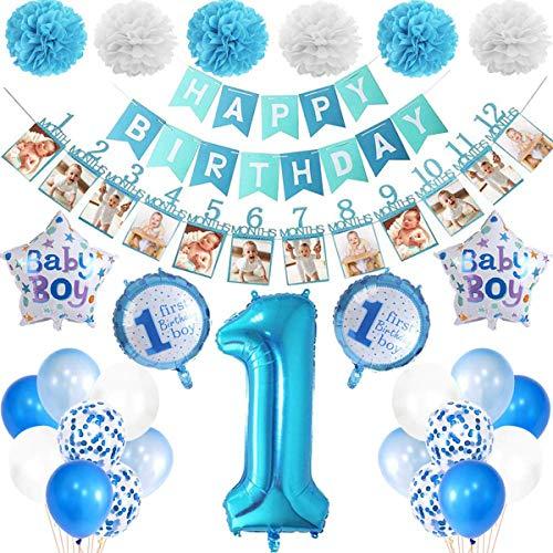 PEIPONG 1. Geburtstag Dekorationen für Junge, Deko 1 Geburtstag, erst Geburtstag Deko Jungen, Baby Party Kindergeburtstag Deko 1 Jahr, Geburtstagsdeko Jungen 1 Jahr