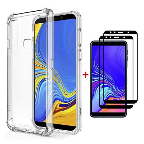 FHXD Compatible con Funda Xiaomi Mi 8 Lite Transparente TPU Silicona Cubierta Cover Protectora [2*Película de Vidrio Templado] Suave Anticaída de Cojín de Aire Case Protectora