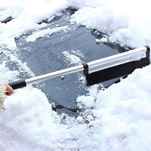 Aogolouk allungabile telescopico neve Brush–Raschietto per ghiaccio per parabrezza auto raggiunge intera–Stiff setole–leggero robusto in alluminio