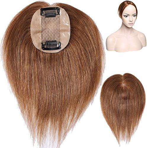 """Volumateur Femme a Clip Complément Capillaire (#06 Châtain clair, 10""""-25cm) Extension Cheveux Humain Naturel Toupet Toppers Hairpiece"""