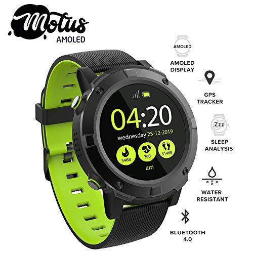 Motus Amoled [Sport Smartwatch Sporthorloge] AMOLED-scherm, IP68 verbonden horloge (stappenteller, hartslag, slaapmonitor) meldingen, externe trigger, [muziekregeling] telefoontoepassing SMS