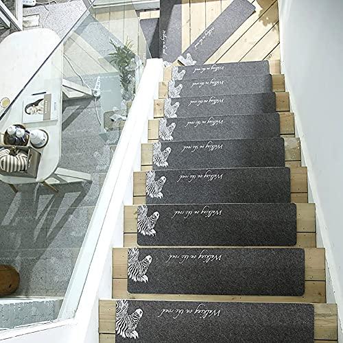 Escalera Pisada Alfombra Sin Deslizamiento Interior Stair Alfombra Escalera Alfombras Mats Corredores Seguridad Resistente for Niños, Ancianos y Mascotas, Perro, Gato, 55x20cm / 21.6 x 7.8inch