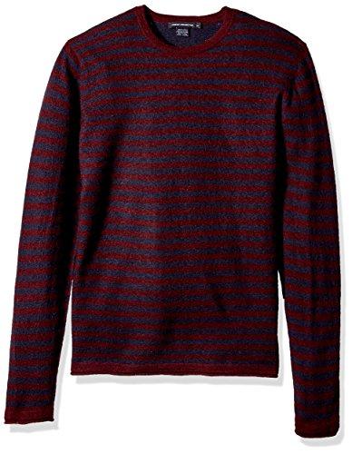 French Connection Men's 2/48's Double Stripe Sweater, Bordeaux/Marine Blue, XL