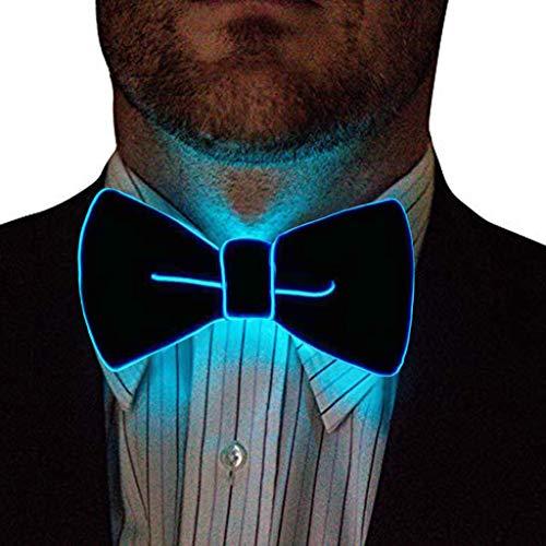 DeHolifer Herren LED Beleuchten Fliege Krawatte, Männer Baumwolle Hochzeit Fliege Anziehen Anzug Krawatte Wellenpunkt Prom Krawatte Eleganter Gentleman Krawatte in verschiedenen Farben