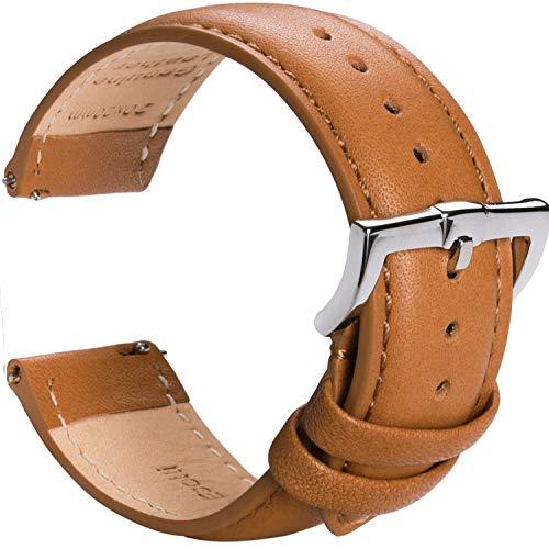 B&E 時計バンド Top Grain 革腕時計バンド -男性と女性のためのクイックリリースウォッチバンドの交換-16mm 18mm 19mm 20mm 22mm
