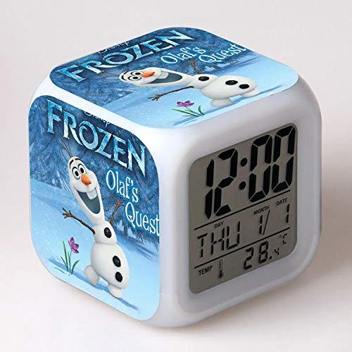 FDGFDG Cuento de Hadas película Princesa Digital LED Despertador Calendario 7 Cambio de Color Nieve Dibujos Animados LED Reloj de Escritorio Temperatura Mini Reloj de Escritorio niños Regalos