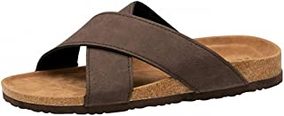 Mens Leather Look Slip On Open Toe Beach Surf Flip Flop Mule Summer Sandals Shoes Size 7-12