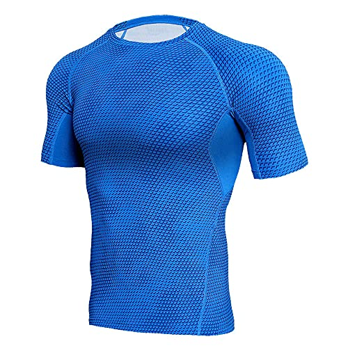 Camisa Musculosa Slim Fit De Verano De Manga Corta Que Absorbe El Sudor Transpirable Camisa De Compresión De Fibra Elástica Trend Fitness Sport Style Camisa De Ciclismo Transpirable B-Blue 3XL