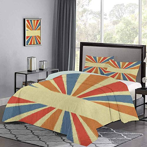 Duvet Cover Set Quilt Cover Hand Drawn Style Burst of Colorful Sunbeams with Grunge Effect Retro Design Lightweight Comforter Case Set Never Fades After Multiple Washes Multicolor, Twin Size