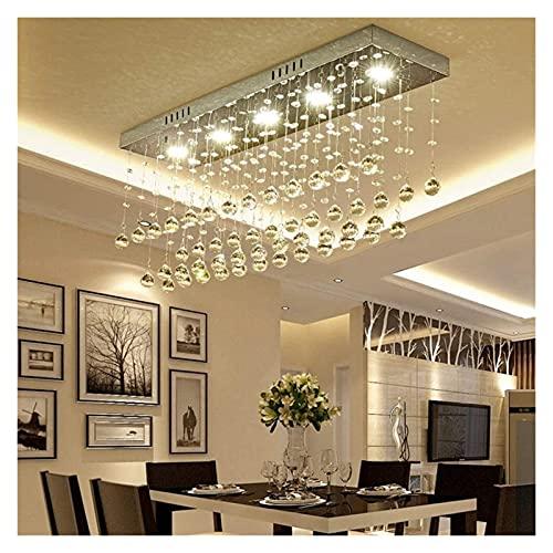 Palm kloset Candelabro de Cristal de Lujo Rectangular Lámpara de Techo LED de Acero Inoxidable Cromado Luz Regulable de 3 Colores Decoración del hogar Entrada de Comedor 80 * 20 * 33cm