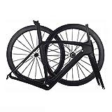 TQ Cuadros y Ruedas de Bicicleta de Carretera de Carbono Completo Juego de Cuadros de Carbono para Bicicleta de Carreras T1000 con Juego de Ruedas Clincher de 50 mm,53cmmattec
