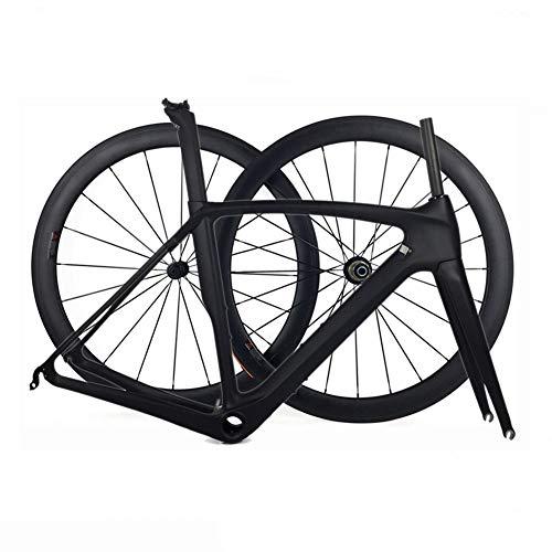TQ Vollcarbon-Rennradrahmen und -räder T1000 Rennradrahmen aus Carbon mit 50 mm Drahtreifen,50cmmatte