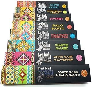 Lot d'encens Tribal Soul - 8 paquets - 96 bâtonnets à brûler (Copal Blanc, Cèdre+Foin d'Odeur, Myrrhe, Palo Santo, Palo Sa...