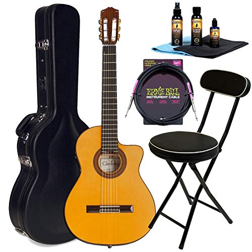 Cordoba 55FCE Thinbody – Honey Amber Guitar with HumiCase, MusicNomad 5-Piece (MN108), ErnieBall Cable, Wee's Beyond Stool Bundle