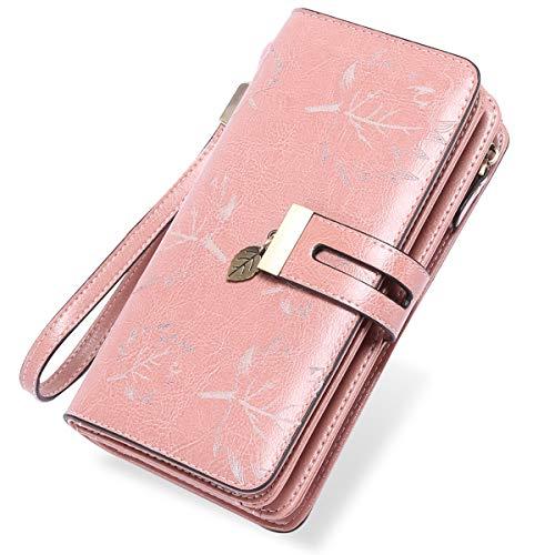 LUROON Carteras Mujer Piel, Monederos Mujer Cuero Gran Capacidad con 24 Ranuras para Tarjetas Bloqueo RFID Billeteras Mujer de Elegante y Moda Billetera Larga Mujercon Cremallera (Rosado)