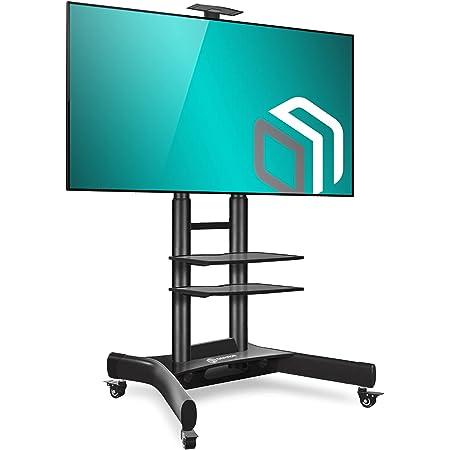 "ONKRON Mobile TV Stand TV Cart with Wheels & 2 AV Shelves for 40"" – 70 inch LCD LED OLED Flat Panel Plasma Screens up to 100 lbs Black TS1552"