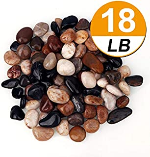 [18 Pounds] Pebbles Aquarium Gravel River Rock, Natural Polished Decorative Gravel,Garden Outdoor Ornamental River Pebbles Rocks, Mixed Color Stones,Polished Gravel for Landscaping Vase Fillers (18)