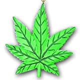 Kurt Adler Marijuana Leaf Christmas Tree Ornament - Cannabis Pot Leaf Green Weed Decor - Rear View Mirror Hanging Decoration - Reversible Design of Crystallized Glitter and Solid Matte Finish
