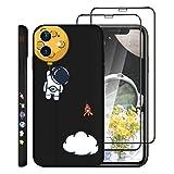 [3p] Jusy The Little Astronaut - Carcasa para y 2 protectores de pantalla cristal templado HD compatibles con iPhone 11, Space, Universo Anti-Fading Patrones, Carga inalámbrica (6.1 pulgadas) (negro)