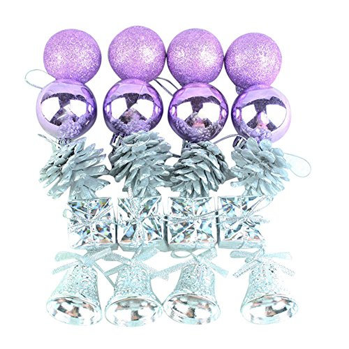 Ouneed- Paillette Boule de Noel Pomme de Pin Pere Noel Mini Sapin de Noel Decoration Ensemble a Suspendre 20pcs (Violet 20pcs)