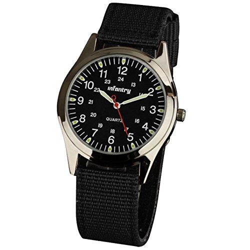 Infantry - Reloj de pulsera analógico para hombre, mecanismo de cuarzo, correa de nailon, color negro