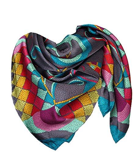 Nella-Mode Schickes Hochwertiges SEIDENTUCH in kräftigen Farben auf anthrazitfarbenen Grund in frischem aussergewöhnlichem Design, Tuch aus 100% Seide, 85x85 cm, Handrolliert