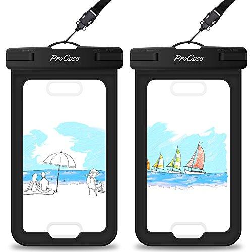 "ProCase 2 uds.Funda Impermeable Apoya Touch ID,Bolsa Estanca para iPhone SE/11 ProMax/X/XS Max/XR/8/7/6S Plus con Identificación Dactilar, Galaxy S10/S10e/S9/J5/J3, Huawei Xiaomi Redmi Hasta 6"" -Negro"
