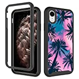 Cute iPhone XR Case, Pink Palm Leaves Tree iPhone XR Case for Girls Women Shockproof Rugged Cover Soft TPU + Hard PC Bumper Full-Body Protective Case for Apple iPhone XR (6.1inch)