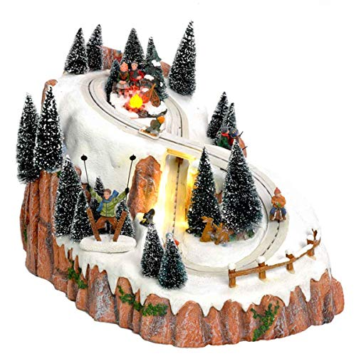 Luville Miniatur Wintersportberg im schönen Geschenkbox mit beweglichen Teilen, Musik und LED-Beleuchtung inkl. Adapter - mit Beleuchtung – Weihnachtsdeko Wintersdorf Skipiste