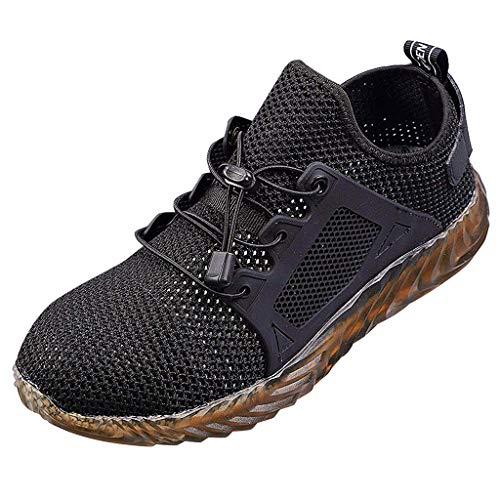 Fenverk Herren Mesh Schnell Trocknender Aqua Wasser Schuhe Herren Damen Arbeitsschuhe Stahlkappe Sicherheitsschuhe Grün, Grau 36-48(A Schwarz,45 EU)