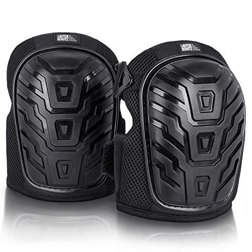 LauterSchutz® Premium Knieschützer mit 2-Zonen-Gelkissen Technologie und bequemem Doppelverschluss, für Profi Handwerker und Heimwerker.