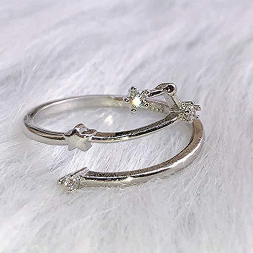 Stella Fashion Micro Diamanten Ring Maand Constellatie Weegschaal Gemini Stier Kanker Ringen Verloving Bruiloft Verstelbare Opening Sieraden (Geen Rijk)