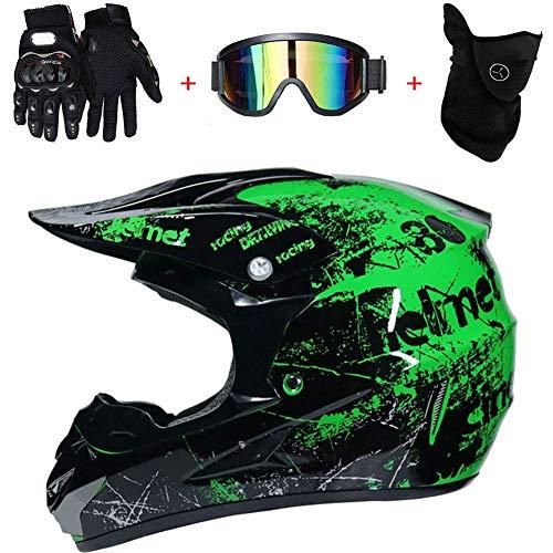 TKUI Mopedhelm Motocross Helm Herren Integralhelm Sonnenschutzhelm, Set Damen Fullface Motorrad DH Cross Offroad Enduro Mountainbike Helme mit Visier Brille Handschuhe Maske,Green,L(56~57cm)