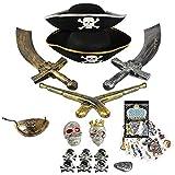 com-four® 15-teiliges Zubehör-Set für Piraten-Kostüme - Ideal für Karneval, Motto-Partys und Kostümveranstaltungen