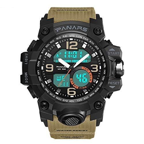 8011 Reloj deportivo digital para hombre, electrónico multifunción para exteriores Pantalla analógica de cuarzo LED Luminoso 50M Resistente al agua Alarma Varias horas Cronómetro / Reloj de pulsera